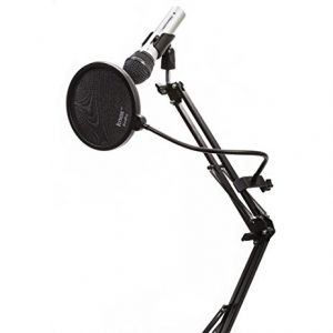ATR2100 microphone on a stand with a pop filter
