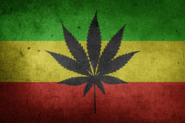 weed flag with rasta colors and marijuana leaf